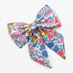 Barrette gros noeud Liberty Poppy and Daisy fluo