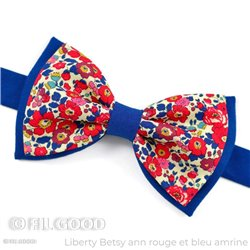 Noeud papillon large double Liberty Betsy ann rouge