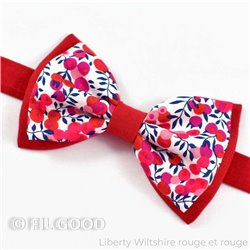 Noeud papillon large double Liberty Wiltshire rouge