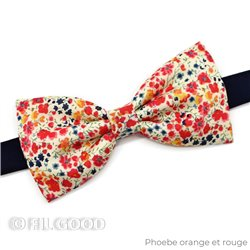 Noeud papillon simple medium homme Liberty Phoebe orange et rouge