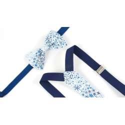 Bretelles et noeud papillon Liberty Adelajda bleu turquoise