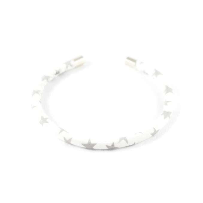 Bracelet jonc blanc étoiles grises argent sur mesure