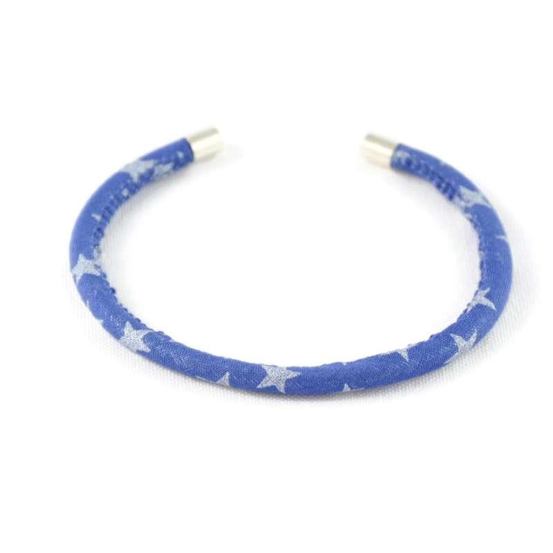 Bracelet jonc bleu étoiles grises argent sur mesure