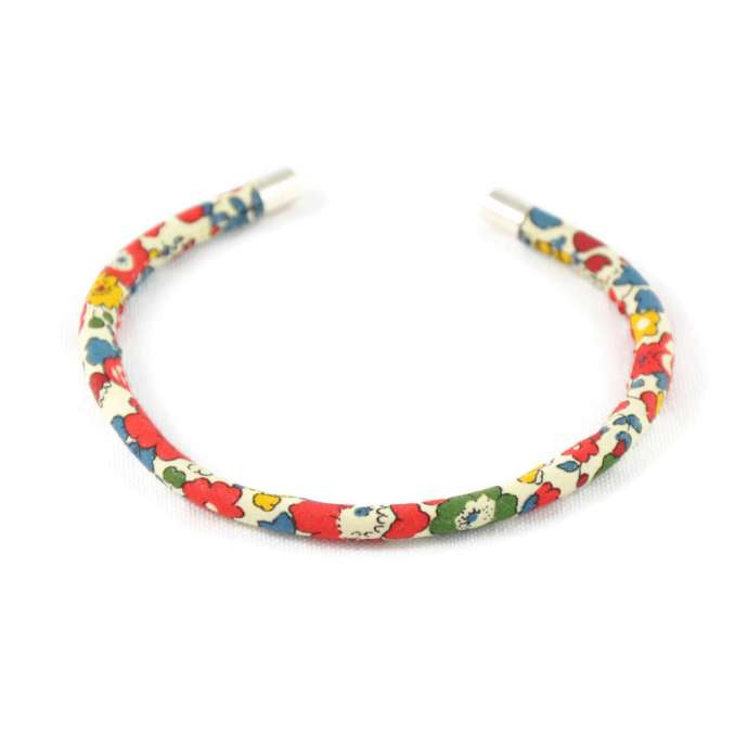 Bracelet jonc Liberty Betsy Ann rouge garance sur mesure