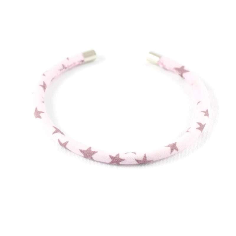 Bracelet jonc rose étoiles parme sur mesure