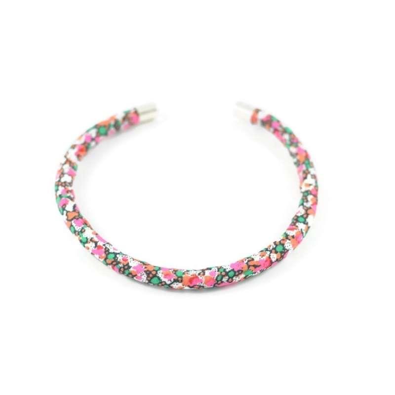 Bracelet jonc Liberty Pepper B rose et vert sur mesure